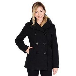 5a22a54b54d4c London Fog 100% Wool Black Double Breast Pea Coat